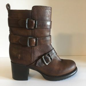 Frye Brown Distressed Leather Short Ankle Boot